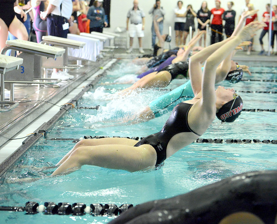 Loveland's Erin Lang comes off the blocks at the start of the 200-yard medley relay during Saturday's Front Range League Championships at the Mountain View Aquatic Center. Lang had a pair of top-four individual finishes and helped two relays place in the top five.