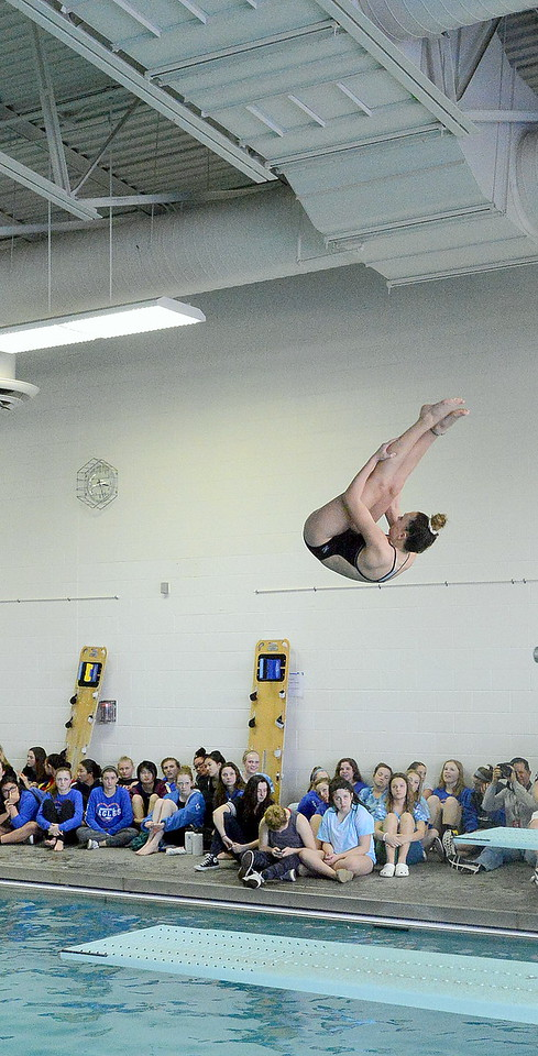 Loveland diver Paige Strait gets ready to come out of her pike during the first round of diving during Saturday's Front Range League Championships at the Mountain View Aquatic Center. Strait placed seventh with a sore of 370.35.
