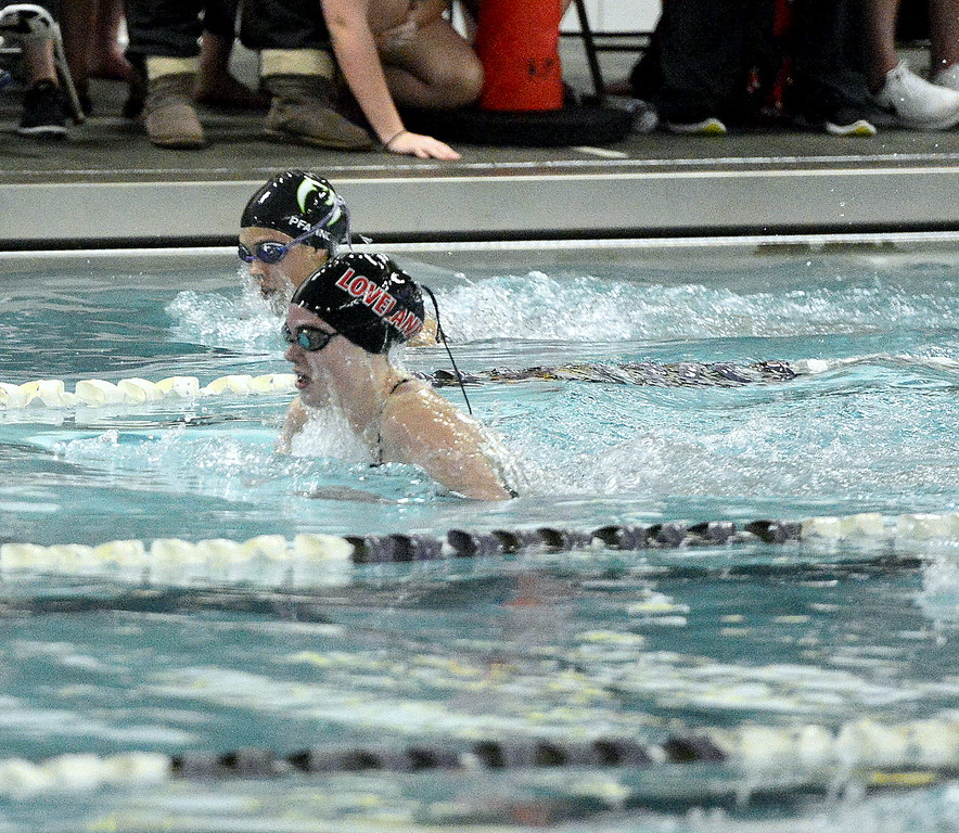 Loveland's Ashley Peet competes in the 100-yard breaststroke finals during Saturday's Front Range League Championships at the Mountain View Aquatic Center. Peet placed fourth with a 1:09.42.
