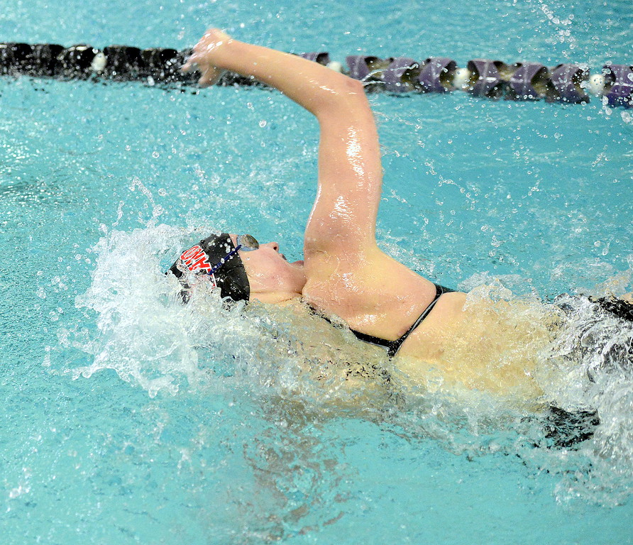 Loveland's Josie Brohard digs in a the finish of the 100-yard freestyle finals during Saturday's Front Range League Championships at the Mountain View Aquatic Center. She placed sixth with a time of 56.04.