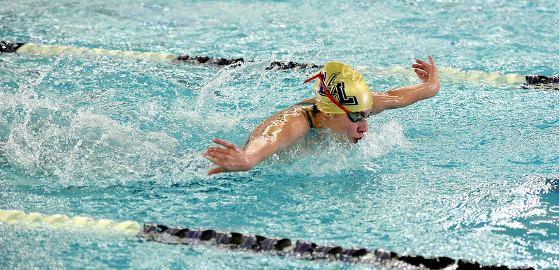 Legacy's Sophia Romero competes in the 100-yard butterfly finals during Saturday's Front Range League Championships at the Mountain View Aquatic Center. Romeros placed fourth in a time of 59.13.