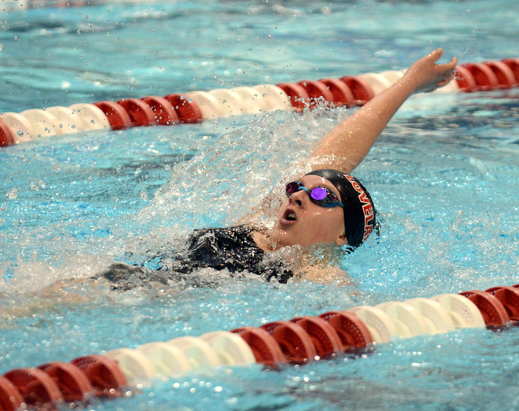 Loveland's Delaney McNally does the backstroke leg of the 200-yard individual medley at Friday's preliminary session of the Front Range League Championships. (Mike Brohard/Loveland Reporter-Herald)