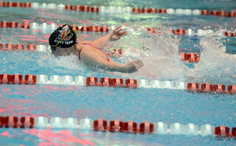 Loveland's Josie Brohard does the butterfly leg of the 200-yard medley relay at Friday's preliminary session of the Front Range League Championships. (Mike Brohard/Loveland Reporter-Herald)