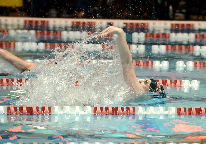Loveland's Erin Lang kicks off the 200-yard medley relay with the backstroke leg at Friday's preliminary session of the Front Range League Championships. (Mike Brohard/Loveland Reporter-Herald)