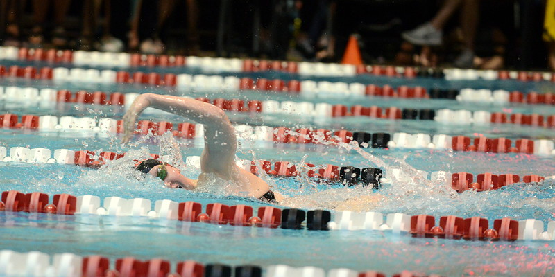 Loveland's Erin Lang came out of the 200-yard freestyle as the second seed in a time of 1:55.11 at the Front Range League Championships at Veterans Memorial Aquatic Center on Friday in Thornton. (Mike Brohard/Loveland Reporter-Herald)