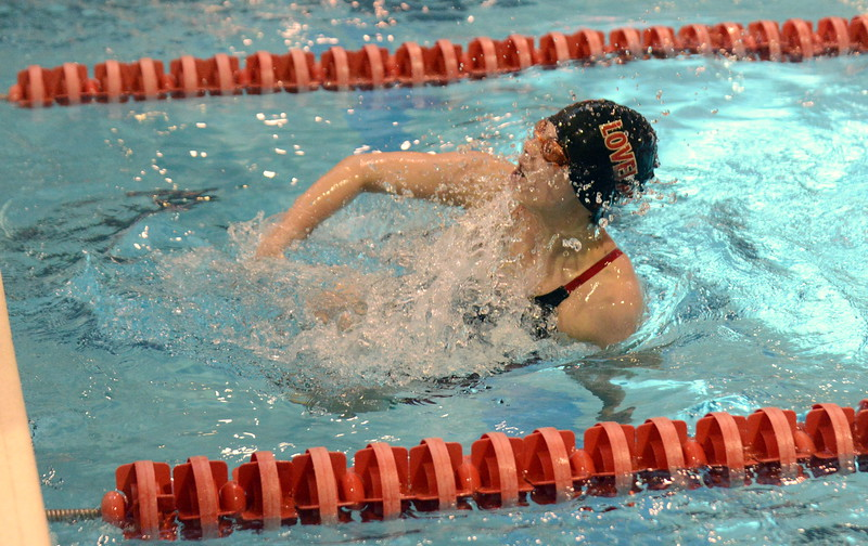 Loveland's Trinity Robertson hits her flip turn during the 200-yard individual medley at Friday's preliminary session of the Front Range League Championships. (Mike Brohard/Loveland Reporter-Herald)