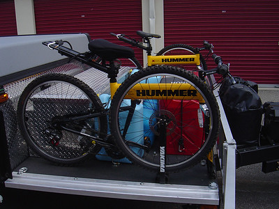 Both bikes, fresh & waste water/ gas containers on deck