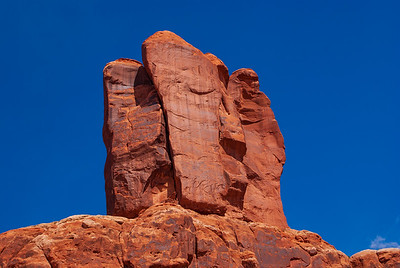 Sandstone Butte Near the Entrance to Arches National Park