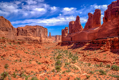 Park Avenue in Arches National Park on a Beautiful Day