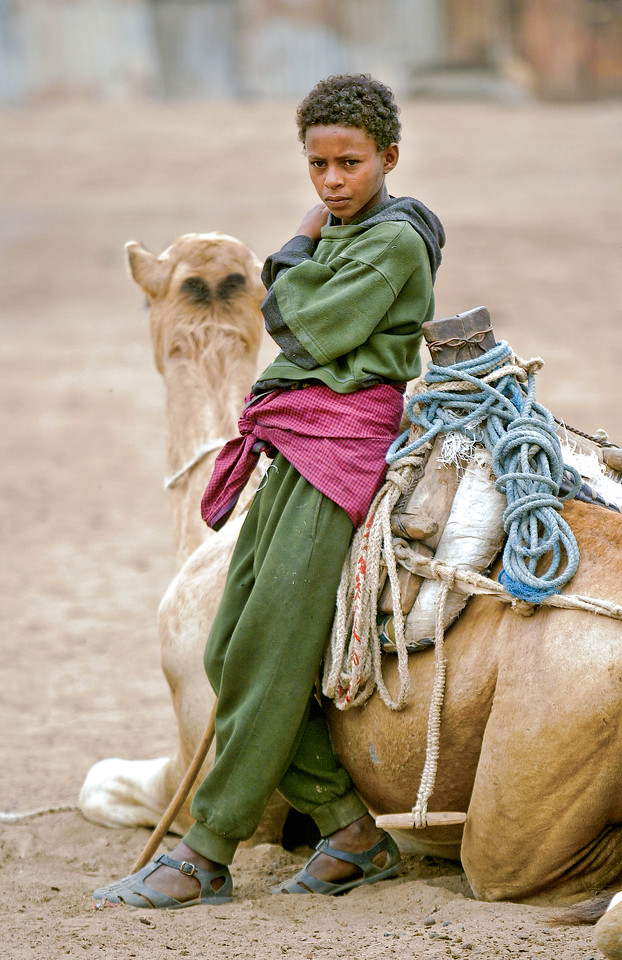A boy rests with his camel at the Sunday market in Massawa, Eritrea.