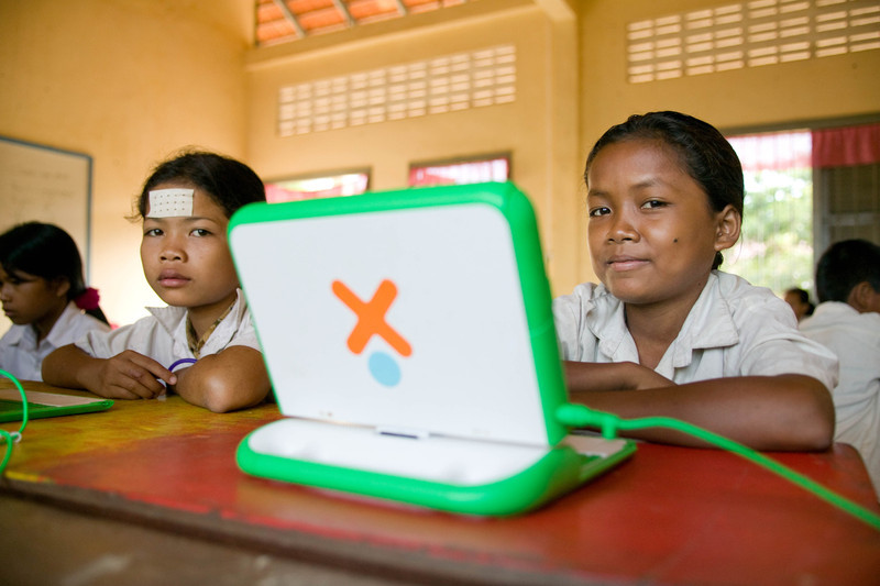 Children at the rural Chanleas Dai elementary school are part of a XO OLPC (One Laptop Per Child) pilot program sponsored by Pepy Ride (pepyride.org), an NGO based in Siam Reap that funds educational initiatives in Cambodia.