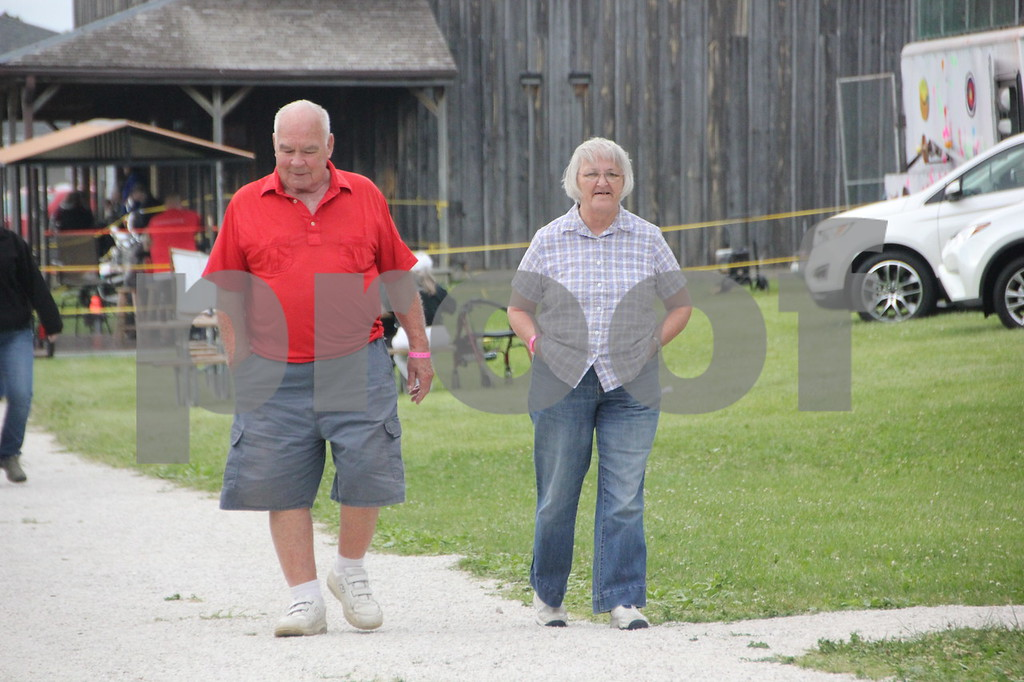 Shown (left to right) is: Butch Lau and Bev Trafford checking out Frontier Days at the Fort Museum on Saturday, June 4, 2016 in Fort Dodge.