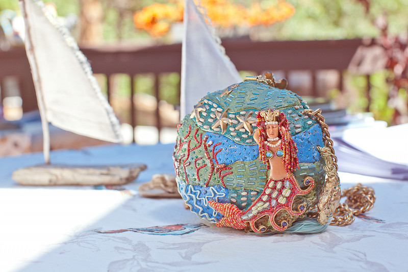 Chris Bassett's mermaid purse that she displayed for decoration