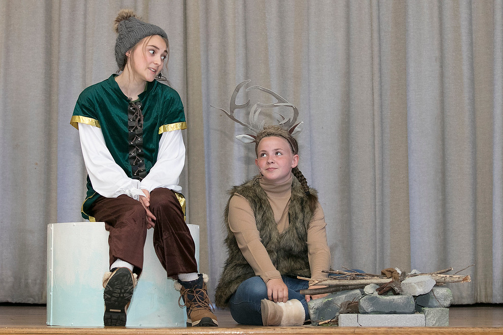 . The Leominster Recreation Department Summer Scene Program is putting on Disney\'s Frozen Jr. at the Samoset Middle School on Wednesday, July 17 and Thursday, July 18, 2019 at 7 pm. They had a dress rehearsal on Tuesday, July 16, 2019. Izzy Reilly playing Kristoff and Bridget Divoll playing Sven perform during a scene at the dress rehearsal. SENTINEL & ENTERPRISE/JOHN LOVE