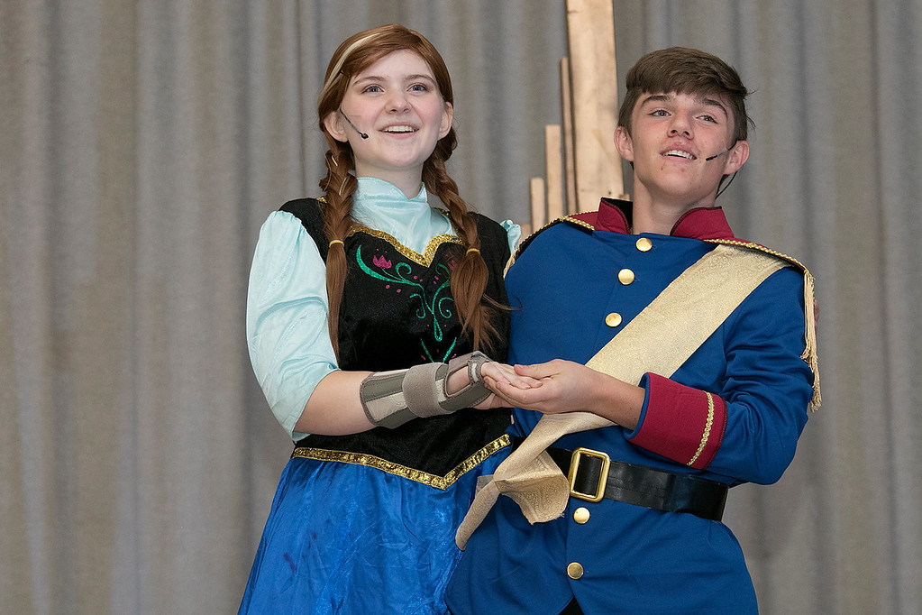 . The Leominster Recreation Department Summer Scene Program is putting on Disney\'s Frozen Jr. at the Samoset Middle School on Wednesday, July 17 and Thursday, July 18, 2019 at 7 pm. They had a dress rehearsal on Tuesday, July 16, 2019. Ari Dibble playing Anna and Domenic Iannacone playing Hans perform during a scene at the dress rehearsal. SENTINEL & ENTERPRISE/JOHN LOVE
