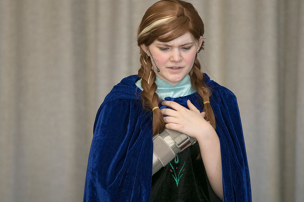 . The Leominster Recreation Department Summer Scene Program is putting on Disney\'s Frozen Jr. at the Samoset Middle School on Wednesday, July 17 and Thursday, July 18, 2019 at 7 pm. They had a dress rehearsal on Tuesday, July 16, 2019. Ari Dibble playing Anna performs during a scene at the dress rehearsal. SENTINEL & ENTERPRISE/JOHN LOVE