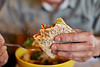 Half eaten Flatbread Sandwich