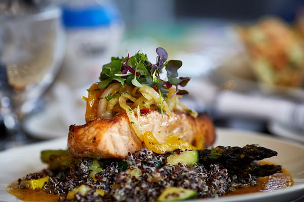 Grilled Salmon on top of Quinoa