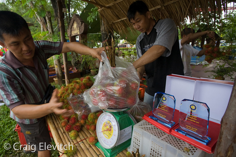 Fruit contest winners for rambutan sell their fruit at the local market.