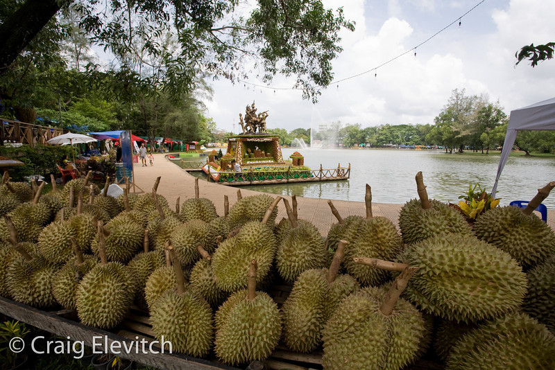 Durian and other fruits are sold around the lake during the festival.