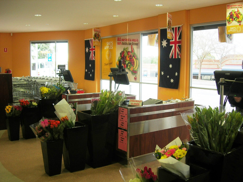 """Our shop at Gawler :She's Apples"""" All fresh Fruit, vegtables and flowers sold in this shop are guarantee  to be Australian grown"""