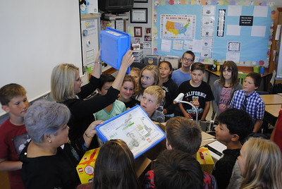 Morris Elementary School fifth-grade students on Tuesday morning were surprised with Lego sets to spark their interest in STEAM [science, technology, engineering, art and math] fields. The sets were provided to Amber Coley's classroom through the Chevron Fuel Your School program. (Hunter Cresswell -- The Times-Standard)
