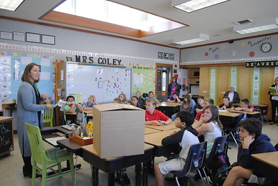 Morris Elementary School principal Tiffany Maher presenting to Amber Coley's fifth-grade class before the students were surprised with Lego sets provided through the Chevron Fuel Your School program on Tuesday morning. (Hunter Cresswell -- The Times-Standard)