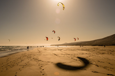 Kite Surfers on Sotavento Beach | Fuerteventura | Spain