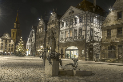 Grüner Markt, Fürth at night.  HDR photo created with qtpfsgui.
