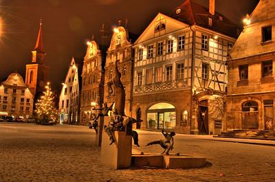 Grüner Markt, Fürth at night.  HDR photo created with qtpfsgui.