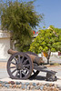An old canon artillery piece at the Fujairah Museum in Fujairah, UAE.