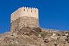 A Portuguese watchtower up on a hill near the Al-Bidyah Mosque in Fujairah, UAE.