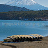 Volcano, lake and boats in winter Fuji Five Lakes, Yamanashi Prefecture, Japan