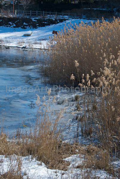Frozen lake in Japan Fuji Five Lakes, Yamanashi Prefecture, Japan