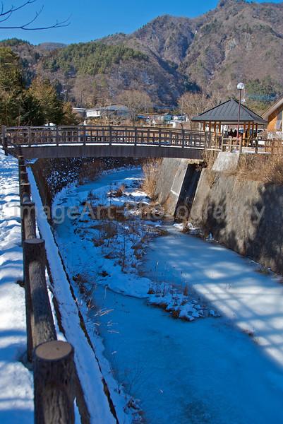 A frozen river in Japan Fuji Five Lakes, Yamanashi Prefecture, Japan