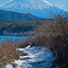 An icy footpath leads to one of the Fuji Five Lakes, Japan Fuji Five Lakes, Yamanashi Prefecture, Japan