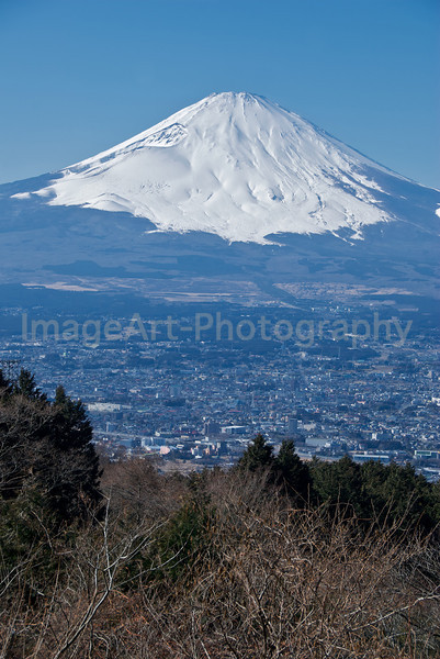 Mt. Fuji rises above the city of Gotemba, Shizuoka prefecture, Japan Fuji Five Lakes, Yamanashi Prefecture, Japan