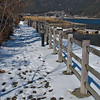 Snowy footpath by the lake Fuji Five Lakes, Yamanashi Prefecture, Japan
