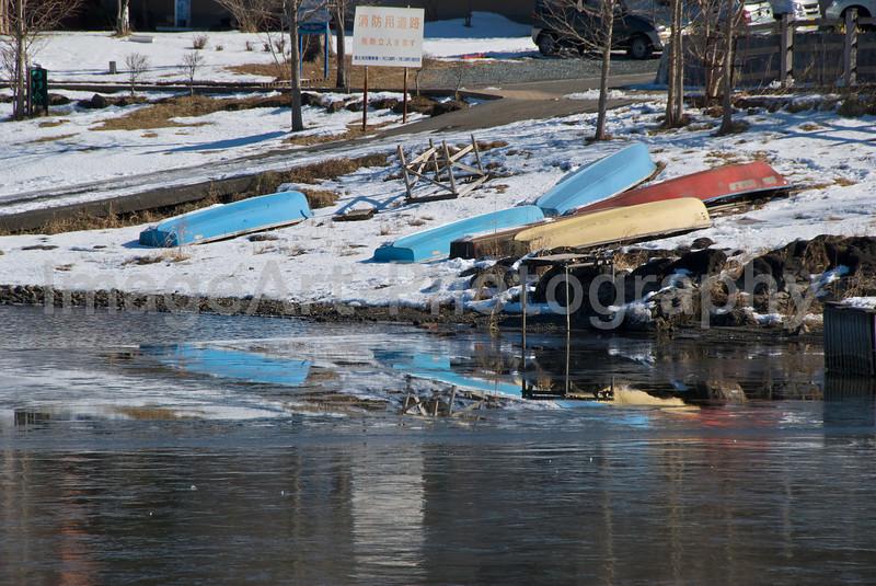 Boats laid up in winter Fuji Five Lakes, Yamanashi Prefecture, Japan