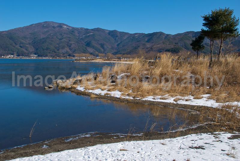 beautiful lake in winter Fuji Five Lakes, Yamanashi Prefecture, Japan