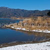 beautiful lake in winter Fuji Five Lakes, Yamanashi Prefecture, Japan