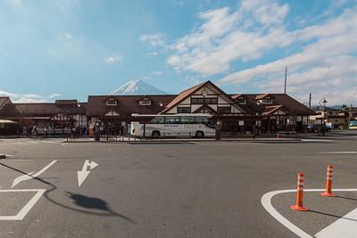 Kawaguchiko Station with Mt. Fuji