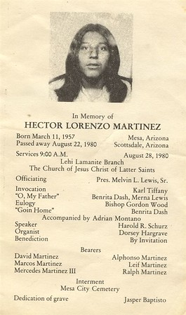 "Hector was my cousin, his father was ""Chindy"" Mercedes Pacheo Martinez who was my mothers brother."