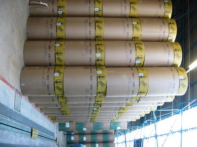 Stacked paper rolls