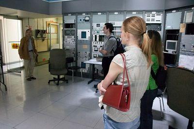 Lauren and group in control room