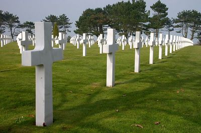 American cemetery crosses line