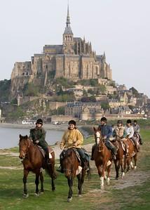 Mont St Michel horseback riders