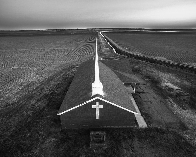 Church in Delta Fields (BW)