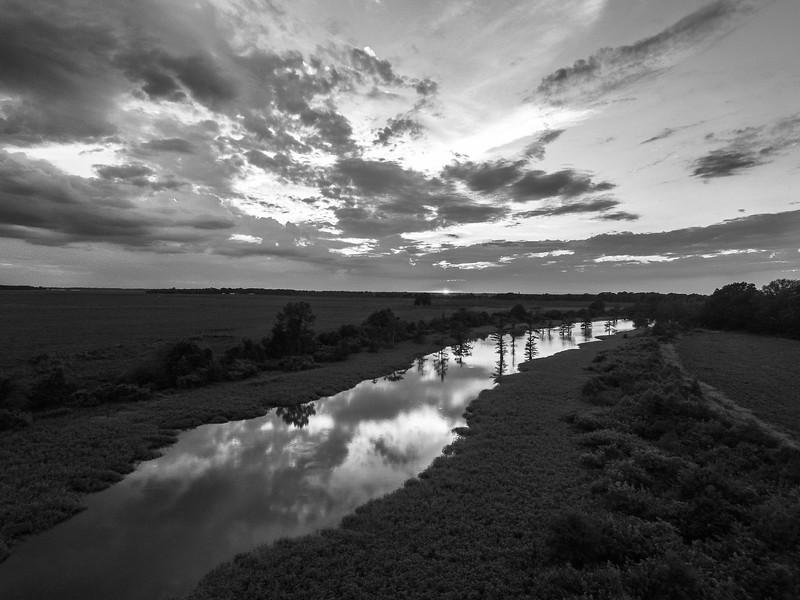 Sunset Stream (BW)