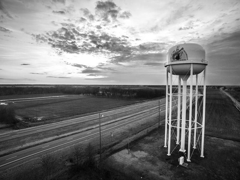 Clarksdale Tower Against the Clouds